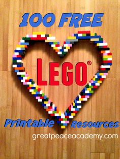 Free Lego Printable Learning Resources from http://www.greatpeaceacademy.com