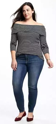 Plus Size Fitted Off-Shoulder  Top