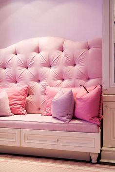 Custom Girl's Bedroom - traditional - kids - toronto - by Toronto Interior Design Group Girls Bedroom, Bedroom Decor, Bedrooms, Pink Settee, Pink Couch, Tout Rose, Casa Patio, Pink Houses, Pink Room