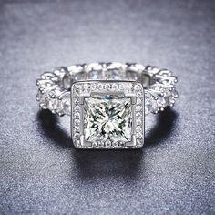1.5 Carat Halo Ring Full Eternity Ring 925 Sterling