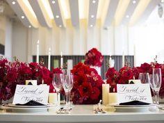red flower wedding 会場装花 赤