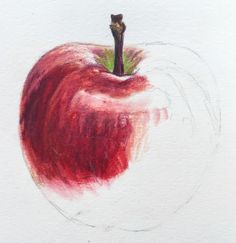 Learn to paint a red apple in coloured pencils as part of Kate Clarke's still life textures course now available on ArtTutor