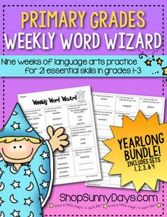 This bundle contains all four of the nine-week Word Wizard Sets. You can find them individually here: set one  set two  set three  set four   You might also be interested in these grade specific, CCSS aligned versions. The format is similar, but the content is completely different and directly aligned to Common Core State Standards.
