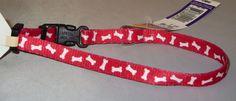 "XS Dog Collar Red White Bones Xsmall 8-12"" Neck 3/8"" New Adjustable USA Made  #Alliance"