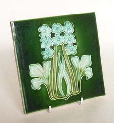 Pair of Original Art Nouveau Green Tiles - Stylised Flowers