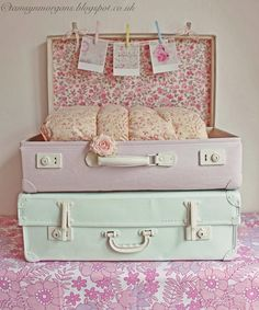 Upcycled Vintage Luggage - painted and lined - via The Villa on Mount Pleasant: Craft Blog Club Challenge - I Re-Love You
