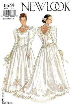 New Look fashion magazine wedding dresses. 'Leg of mutton' sleeves Wedding Dress Patterns, Designer Wedding Dresses, Bridal Dresses, Wedding Gowns, Vintage Outfits, Vintage Fashion, Vintage Dress, Vintage Style, Leg Of Mutton Sleeve