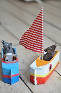 Two Mice Sailing - Milk Carton Craft
