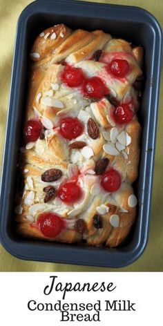 Condensed Milk Bread Do you love the glorious liquid that is condensed milk? This Japanese Condensed Milk Bread is another delicious way to enjoy condensed milk, this time enclosed in a soft and sweet bread that is studded with raisins and cherries. Bread Machine Recipes, Easy Bread Recipes, Sweet Recipes, Baking Recipes, Dessert Recipes, Pudding Recipes, Quick Bread, Artisan Bread Recipes, Healthy Recipes