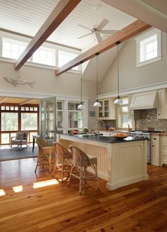 amazing kitchen - love the high paneled ceilings, transom windows, screened porch off one side and fab window seat off other side Creative Decor, Kitchen Colors, Cool Kitchens, Dream Kitchens, Kitchen Styling, Decoration, Kitchen Remodel, Building A House, Home Goods