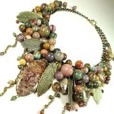 Купить Рассвет Ягодной Долины. Колье. Натуральные камни - комбинированный, розовый, оливковый, зелёный, мятный