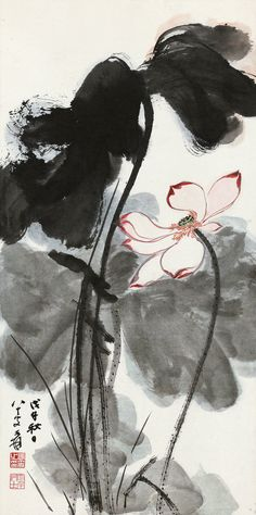 LOTUS - ZHANG DAGIAN (1899-1983) - Ink and color on paper, 1978.