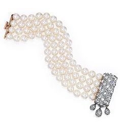 18 Karat Gold, Blackened Silver, Diamond and Cultured Pearl Bracelet, JAR, Paris