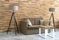 Decorative wall panels made from natural wood. Great solution for interior design Wooden Wall Design, Wooden Walls, Decorative Wall Panels, Floor Ceiling, Wall Cladding, Shape And Form, Tripod Lamp, Decoration, Natural Wood