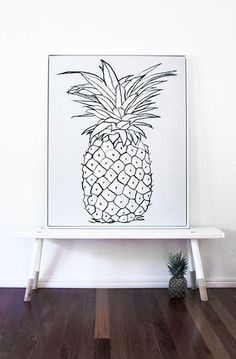 = White Pineapple artwork by The March Collective = Babanees Bench by Green Cathedral = Styling by Simone Barter of Style Life Home