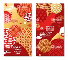 Vertical Banners Set with 2018 Chinese New Year Elements. Vector… Vertical Banners Set with 2018 Chinese New Year Elements. Asian Clouds and Patterns in Modern Style, geometric ornate shapes, red and gold Chinese New Year Design, Chinese New Year Poster, Chinese New Year Card, Chinese Posters, New Years Poster, New Year Card Design, Chinese Style, Dm Poster, Gfx Design