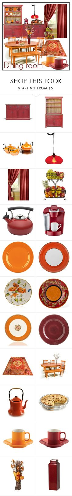 """""""Color challenge: Dining room"""" by rosidew on Polyvore featuring interior, interiors, interior design, Zuhause, home decor, interior decorating, Cottage Home, Mikasa, Circulon und Keurig"""