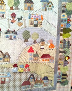 """Country Village"" by Fumiko Fujiwara for The Quilt Festival Exhibit of Japanese quilts inspired by the work of Reiko Kato. Close up 2/5"