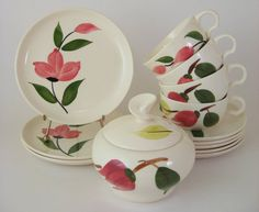 For your vintage kitchen: Vintage Dessert Tea Set Stetson Blue Ridge dishes with pink flowers by WoolTrousers
