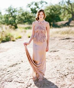 This Metallic Desert Wedding Shoot Is So On Point #refinery29  http://www.refinery29.com/100-layer-cake/43