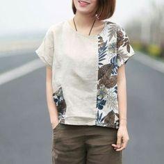 I love the asymmetry of this shirt Blouse Batik, Batik Dress, Batik Fashion, Fashion Sewing, Sewing Clothes, Diy Clothes, Clothes For Women, Shirt Makeover, Clothing Patterns