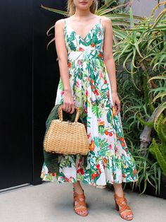 If you're constantly looking for summer event outfits (weddings, birthday brunches and so on), this breezy option will solve all of your problems. Pair with tan sandals and a raffia bag.