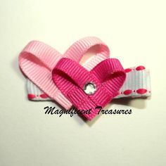 Valentine Double Pink Heart Hair Clip.  These little hearts are about 1 inch tall and made with grosgrain ribbon that has been heat sealed to