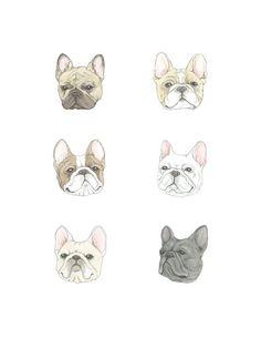 Ähnliche Artikel wie Frenchies... als Fine Art print mit French Bulldogs auf Etsy