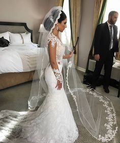 Stunning bride Pranvera in her beautiful custom lace bridal veil and headpiece and fabulous Berta Bridal gown.