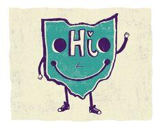 Lil' Ohio Art Print by LilBurritos on Etsy The Buckeye State, Whale Art, Ohio State Buckeyes, Columbus Ohio, Say Hi, Day Trips, Growing Up, Art Prints, Sayings