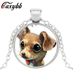 Caxybb Cute chihuahua gear pendant dog collar crystal dome fashion jewelry steampunk women gift silver necklace Free shipping