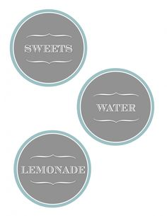 Free printable labels for food/drinks from DesignerBlogs.com. Free labels include fruit, madarine salad, chicken salad croissant, lemonade, water, & sweets. Custom lables can be requested for 3 dollars