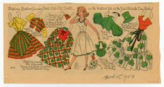 Patricia's St Patrick's Day dresses, paper doll by Lucy Eleanor Leary, Boston Sunday Post, 1953