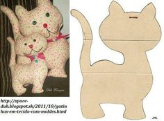 Cat Patchwork e ideas EN Body: Sewing Toys, Sewing Crafts, Sewing Projects, Cat Crafts, Animal Crafts, Fabric Toys, Fabric Crafts, Cat Quilt, Cat Pattern