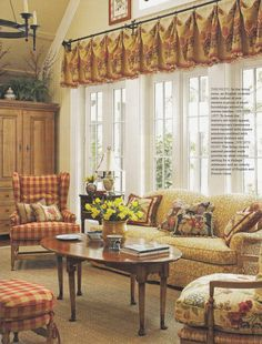 French country living room design ideas love the gold/red combo and the check pattern mixed with florals English Country Decor, French Country Living Room, French Country Cottage, French Country Style, Country Bedrooms, French Farmhouse, Shabby Cottage, Vintage Farmhouse, Country Farmhouse