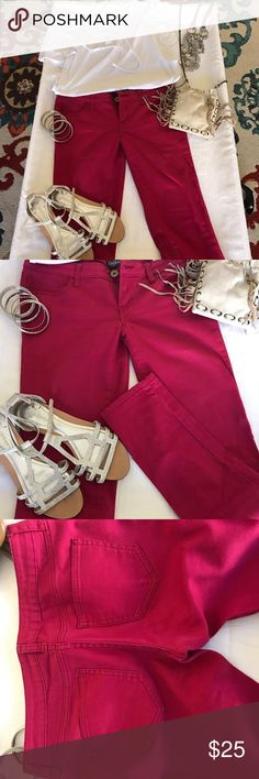 👖💖Pink skinny stretch pants . 💖😎Pink Skinny Stretch pants . Size 7 , pretty cool pink. Gently worn once maybe twice. Like new. City Streets Pants Skinny