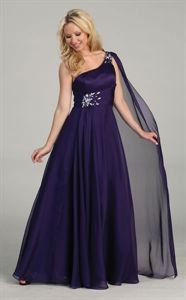 Purple One Shoulder Prom Dresses, Chiffon Evening Dresses, Prom Gowns $136.00