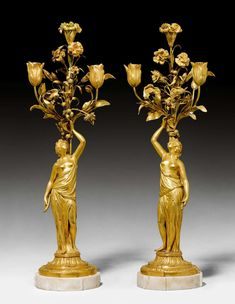 """date unspecified PAIR OF CANDELABRAS """"AUX FEMMES"""",late Louis XVI, Paris, end of the 18th century. Gilt bronze and white marble. On a shaped, round base. H 64.5 cm. Class Design, Bronze, Louis Xvi, Oil Lamps, Luxury Interior, White Marble, Decoration, Victorian Fashion, Candlesticks"""