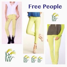 "⚡️ SALE ⚡️FREE PEOPLE Skinny Cords 24/00 Who says fall has to be bland? Add a pop of color with these like-new, soft cords by Free People. Neon yellow color with yellow stitching in a size 24/00. These have a little stretch but run true to size. Inseam 31"" 98% Cotton 2% Spandex Free People Pants"
