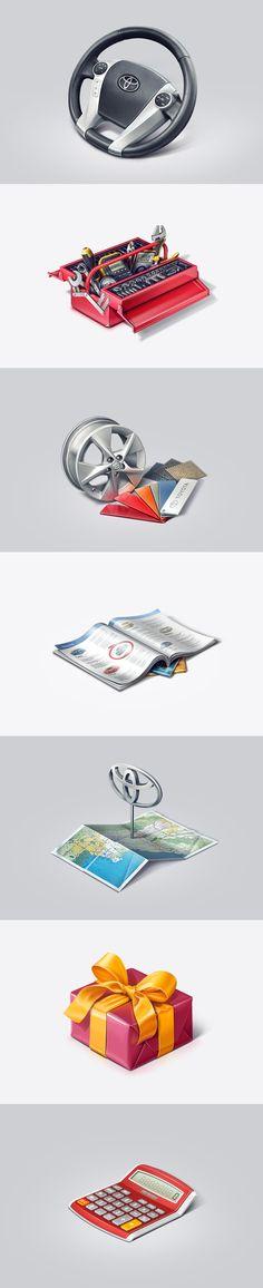 Toyota icons by Kadasarva , via Behance #iconography