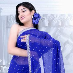 Dynamic Blue Faux Georgette Saree with Blouse (but where's the blouse?!)