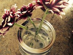 If you've ever used a Mason jar as a vase, you know that their wide mouths aren't conducive to small bouquets. The stems just fall this way and that. That's why they sell 'frogs' and frog inserts. Mason Jar Vases, Mason Jar Flowers, Crafts With Glass Jars, Mason Jar Crafts, Plastic Flowers, Diy Flowers, Fabric Flowers, Organize Plastic Containers, Garden Projects