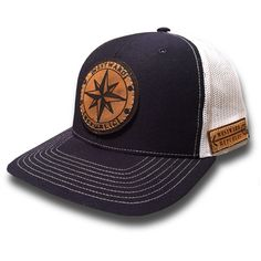 The Voyager. Unique Handmade Leather Patch Design. Comfortable fit Outdoor Inspired Style Adjustable Snapback - one size fits most (adult sizes) JOIN THE REPUBLIC, WEAR WESTWARD.