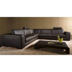 Tosh Furniture Modern Brown Leather Sectional Sofa with Coffee Table   Modern Furniture Warehouse
