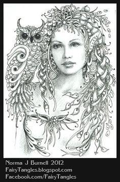Zentangle Fairies/Norma J Burnell | Here's a new ACEO, micron pen and graphite on bristol board.