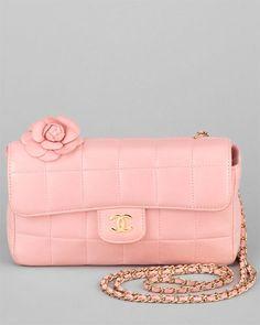 Chanel Pink Leather Camellia Shoulder Bag