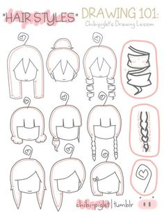 Hairstyles, chibi, text, girl, female; How to Draw Manga/Anime