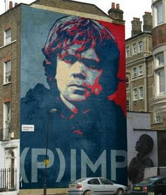 Spotted somewhere in London, this amazing mural of Peter Dinklage as Tyrion Lannister in Game of Thrones, done in the style of artist Shepard Fairey. Um, if anyone has any more details on this mural and, like, whether there are T-shirts or posters for sale, EMAIL ME. Dink 4 Ever. lurve-it