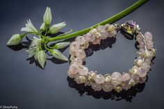 Rose quartz and Keshi pearls silver bracelet with Amethyst clasp by SilverPuha on Etsy