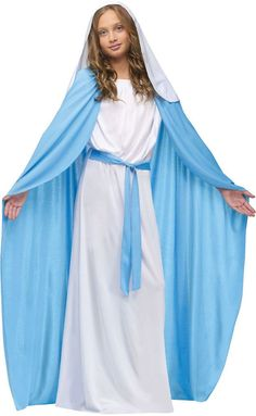 Girl's Costume: Mary (FW) | LargePerfect for school and church productions. White floor-length gown with attached blue belt, attached blue cloak, and white veil with hair comb. Child large size fits s